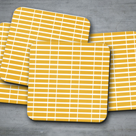 Set of 4 Yellow Coasters with a White Striped Geometric Design, Drinks Mat