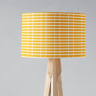 Yellow Lampshade with a White Striped Geometric Design, Ceiling or Table Lamp