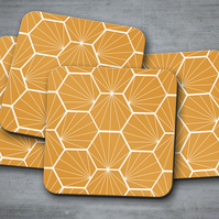 Set of 4 Butterscotch Coasters with a White Hexagon Geometric Design, Drinks Mat