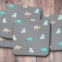 Set of 4 Grey Coasters with a Multicoloured Elephants Design, Drinks Mat