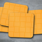 Set of 4 Yellow with White Geometric Lines Coasters