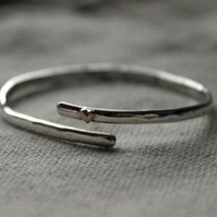 Sterling Silver Baby Bangle with Copper Heart- can be personalised