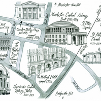 Map of Manchester Central Library and St Peters Field area