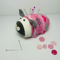 Snowflake Sock Pig Pin Cushion