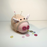 Peach Sock Pig Pin Cushion