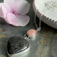 Handmade pink Opal and gemstone pendant necklace for women in hallmarked silver