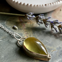 Handmade Lemon Quartz and silver pendant with granulation detail.