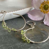 Handmade Peridot and silver hoop earrings
