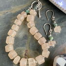 Rose Quartz and Turquoise bead bracelet and earring set with silver clasp
