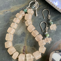 Frosted Rose Quartz and Turquoise bracelet and earring set with silver clasp