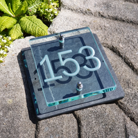 Three Digit Engraved Glass & Slate House Number Sign. Size 20cm x 20cm