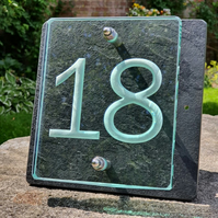 Two Digit Engraved Glass & Slate House Number Sign. Size 20cm x 20cm