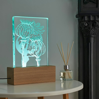 Poppies Design Engraved Glass Wood LED Table Light By Tim Carter