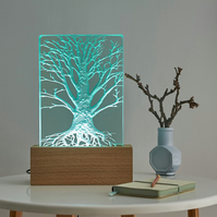 Tree Design Engraved Glass Wood LED Table Light By Tim Carter