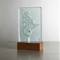 Birthwort. Engraved Sandblasted Glass Table Light Sculpture By Tim Carter