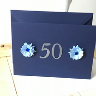 A simple but beautiful 50th Birthday or Anniversary card. CC277