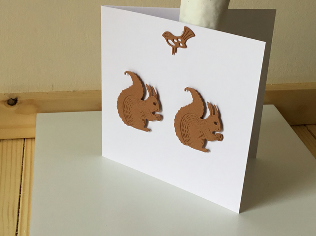 A cute little card with two squirrels munching away. CC284
