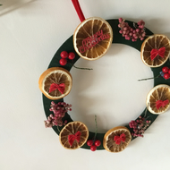 Pretty orange themed christmas wreath with berries and pepper berries CC301