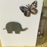 A cute elephant with butterfly any occasion card. CC312