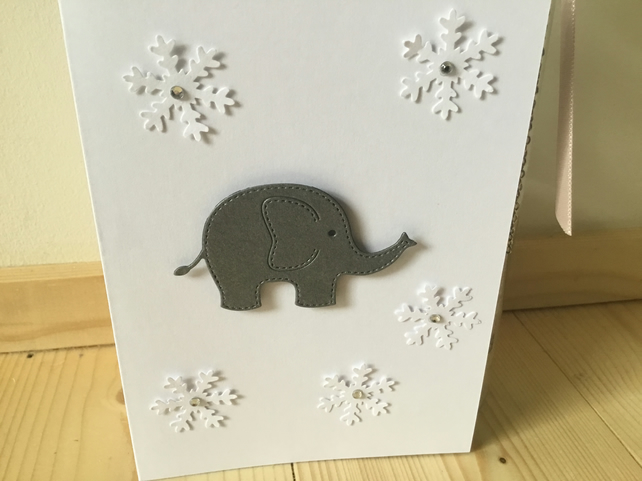 Cute elephant and snowflake card. CC315