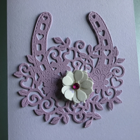 A beautiful horseshoe congratulations card. Suitable for weddings. CC321