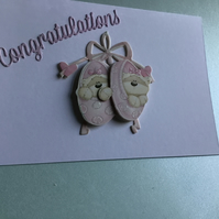 A lovely congratulations card for twin girls. CC323