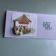 A cute decoupage card, just for you. Any occasion card. CC322