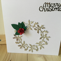A beautiful red rose wreath christmas card. CC330