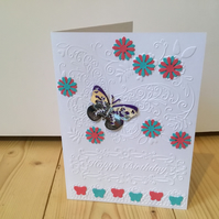 Embossed butterfly birthday card. CC334