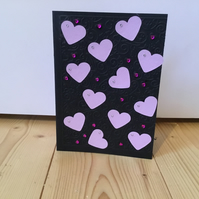Embossed heart and sparkle card. Any occasion card CC333