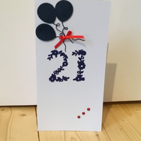 A simple 21st Birthday or Anniversary card CC091