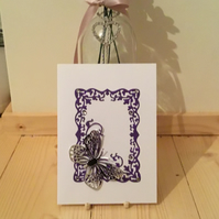 Pretty silver butterfly card for any occasion. CC346