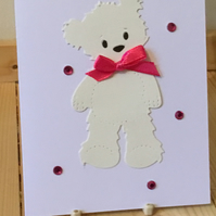 Teddy bear card.Card for any occasion.  CC352