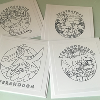 Pack of 4 dinosaur cards to colour in. CC419