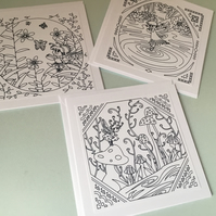 Pack of 3 fairy themed cards to colour in. CC418