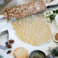 Christmas Trees and Stars Embossing Rolling Pin