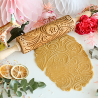 Stars and Swirls Embossing Rolling Pin