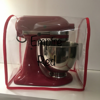 Clear Red Bound PVC Mixer Dust  Cover - KitchenAid Kmix Andrew James
