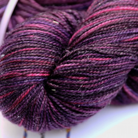 Eccentricity - Superwash Silver Sparkly merino 4 ply yarn