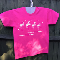 Four flamingos t-shirt