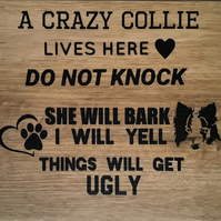 Border collie door sign