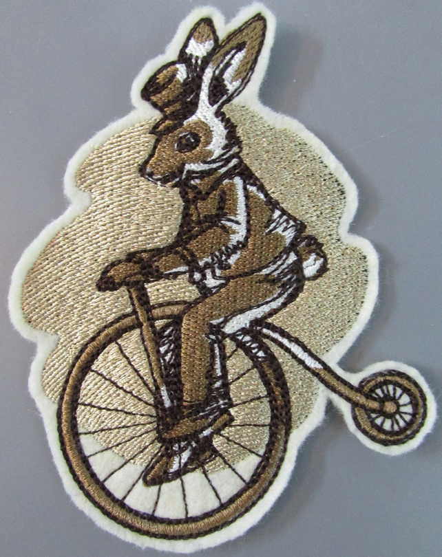 Embroidered Steampunk Rabbit Hare Applique Patch