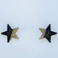 Black and gold star stud earrings