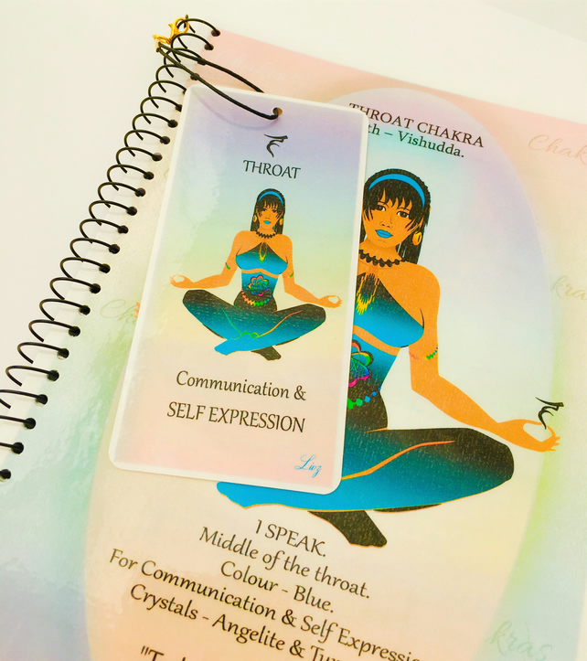 THROAT CHAKRA - Blue - Vishudda. Notebook Gift Set. Affirmation, FREE Bookmark.