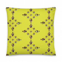 HELIUM HEART YELLOWLIME Cushion. 2 sided fabric cover & Insert by Livz Design
