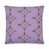 HELIUM HEART LAVENDER Cushion. Double sided fabric cover & Insert by Livz Design
