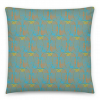 18 inch BLUE AMBER Cushion cover with Insert. Original Print by Livz Design.