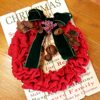 Large Red Burlap Christmas Wreath