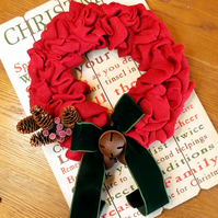 Luxury Red Burlap Christmas Wreath