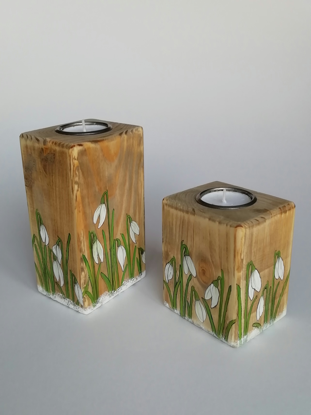 Snowdrops painted tea light holders